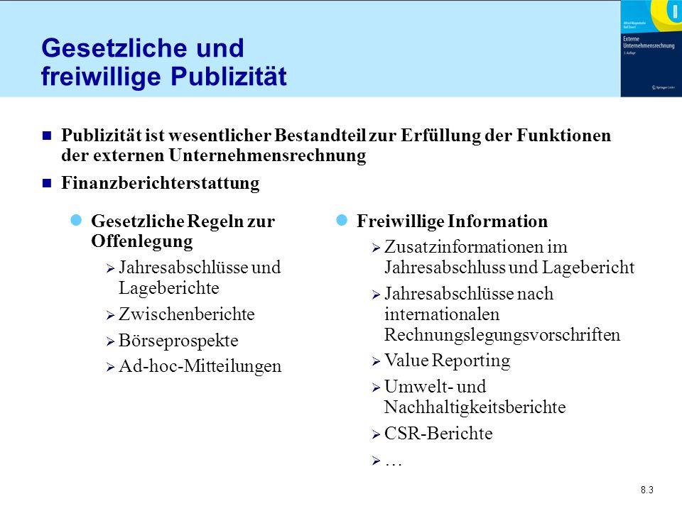 8.4 Publizitätsvorschriften (1) n Publizitätskriterien zur Offenlegung Rechtsform Größe Einzel- oder Konzernabschluss Branche Börsennotierung n Erforderliche Qualität Prüfungspflicht  Jahresabschluss und Lagebericht  Börsenprospekt Keine Prüfungspflicht  Zwischenbericht  Ad-hoc-Meldungen