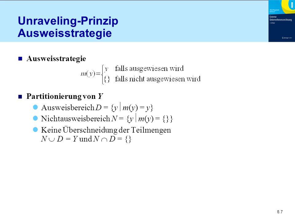 8.8 Unraveling-Prinzip Intuition n Iterativer Prozess Angenommen, Marktwert wäre der a priori Erwartungswert  Ausweis von y > P = 0,5 Aber: Markt erkennt dies Marktpreisrevision bei Nichtausweis von y  [0; 0,5]  Unternehmen antizipiert dies und weist aus: y > P = 0,25 Neuerlich Marktpreisrevision zu P = 0,125 usw solange bis Gleichgewichtszustand erreicht ist