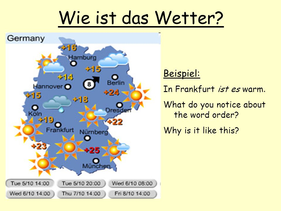 Wie ist das Wetter? Beispiel: In Frankfurt ist es warm. What do you notice about the word order? Why is it like this?