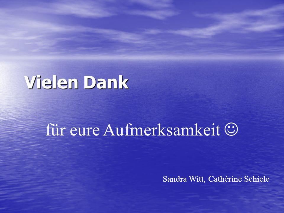 Vielen Dank für eure Aufmerksamkeit Sandra Witt, Cathérine Schiele