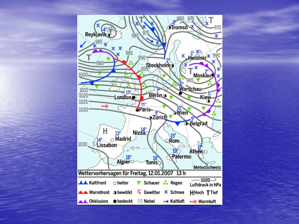 Entstehung einer Wetterkarte Luftdruckmesswerte alle verfügbaren Daten werden eingetragen Isobaren werden eingezeichnet höchster Luftdruckwert wird au