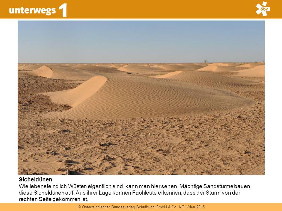 © Österreichischer Bundesverlag Schulbuch GmbH & Co. KG, Wien 2015 Sicheldünen Wie lebensfeindlich Wüsten eigentlich sind, kann man hier sehen. Mächti