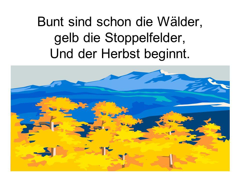 Lies das Gedicht: Blätterfall Blätterfall Gelbe Blätter überall Rascheln, rascheln es wird kalt Und der Schnee bedeckt sie bald Blätterfall Gelbe Blätter überall