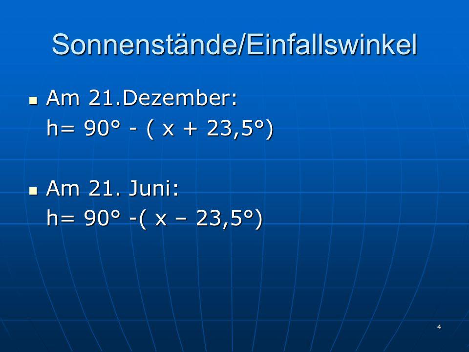 4 Sonnenstände/Einfallswinkel Am 21.Dezember: Am 21.Dezember: h= 90° - ( x + 23,5°) Am 21.