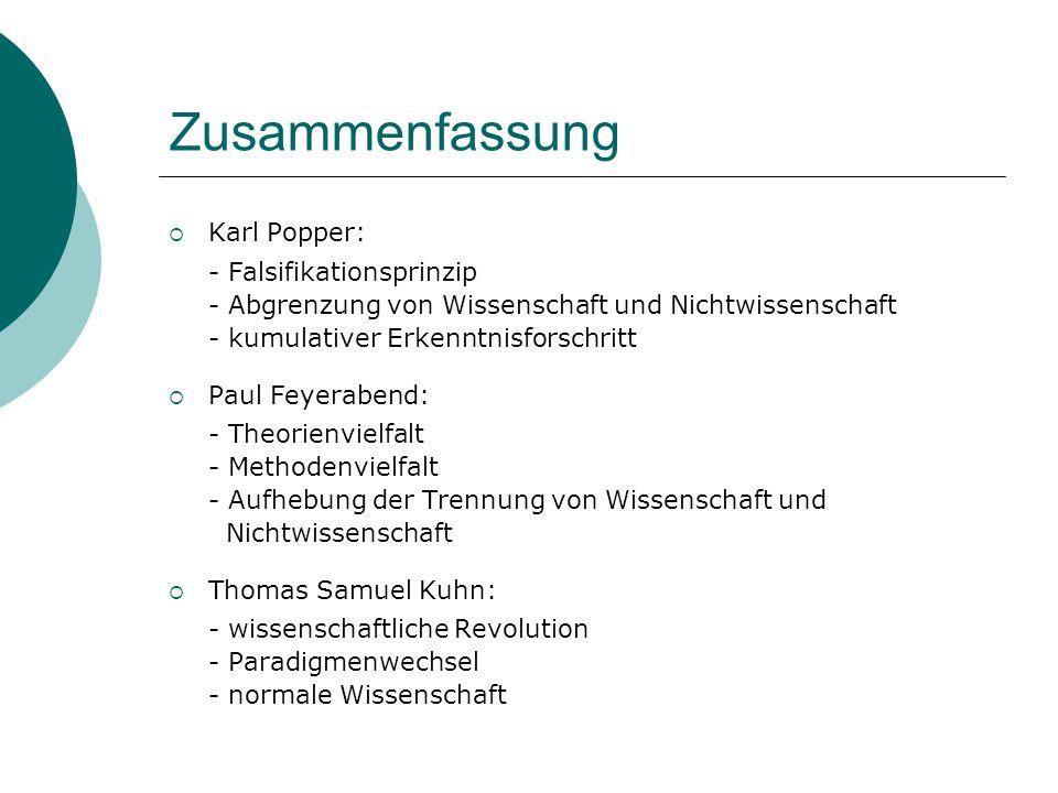 Zusammenfassung  Karl Popper: - Falsifikationsprinzip - Abgrenzung von Wissenschaft und Nichtwissenschaft - kumulativer Erkenntnisforschritt  Paul F
