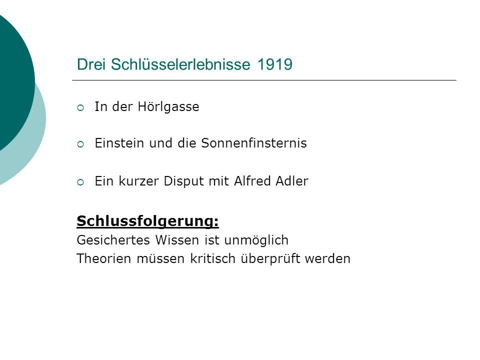 Drei Schlüsselerlebnisse 1919  In der Hörlgasse  Einstein und die Sonnenfinsternis  Ein kurzer Disput mit Alfred Adler Schlussfolgerung: Gesicherte
