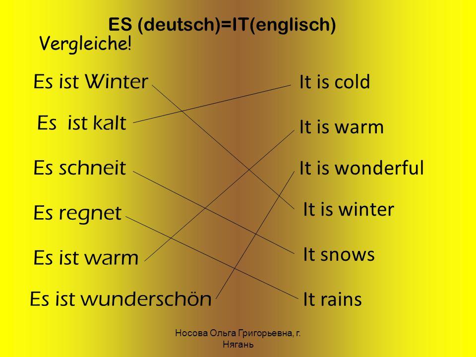 ES (deutsch)=IT(englisch) Es ist Winter Es ist kalt Es schneit Es regnet Es ist warm Es ist wunderschön It is cold It is warm It is wonderful It is wi