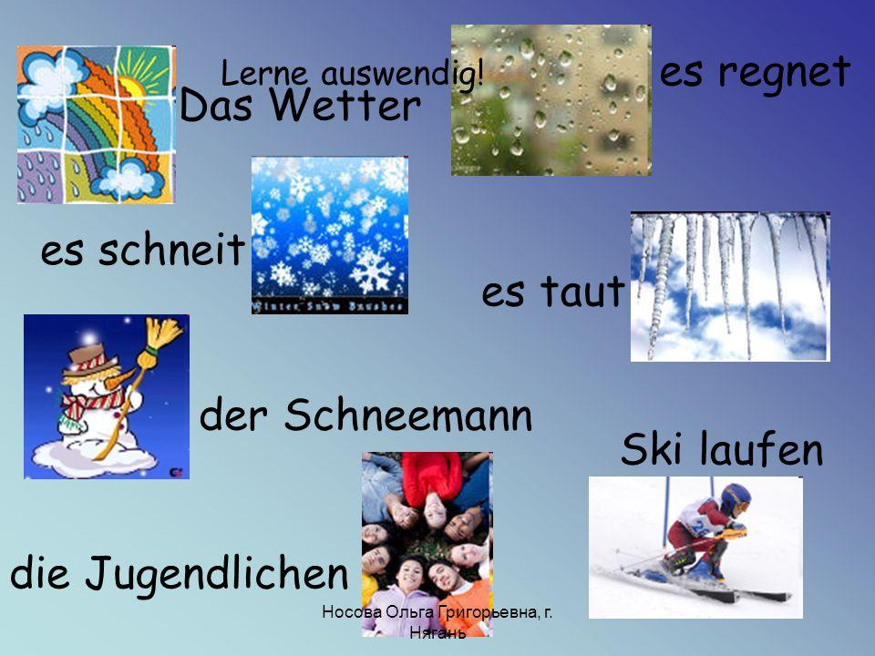 Das Wetter es schneit es regnet es taut der Schneemann die Jugendlichen Ski laufen Lerne auswendig! Носова Ольга Григорьевна, г. Нягань