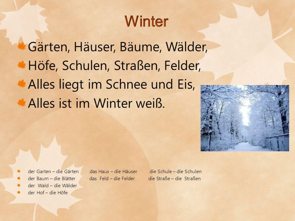 Gärten, Häuser, Bäume, Wälder, Höfe, Schulen, Straßen, Felder, Alles liegt im Schnee und Eis, Alles ist im Winter weiß. der Garten – die Gärten das Ha