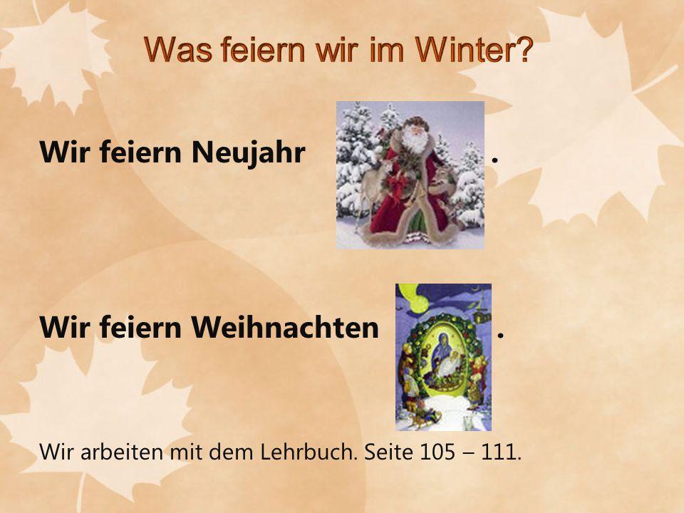 Wir feiern Neujahr. Wir feiern Weihnachten. Wir arbeiten mit dem Lehrbuch. Seite 105 – 111.