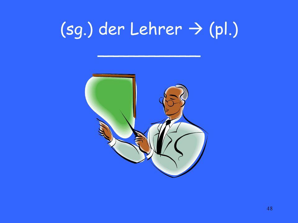 48 (sg.) der Lehrer  (pl.) __________