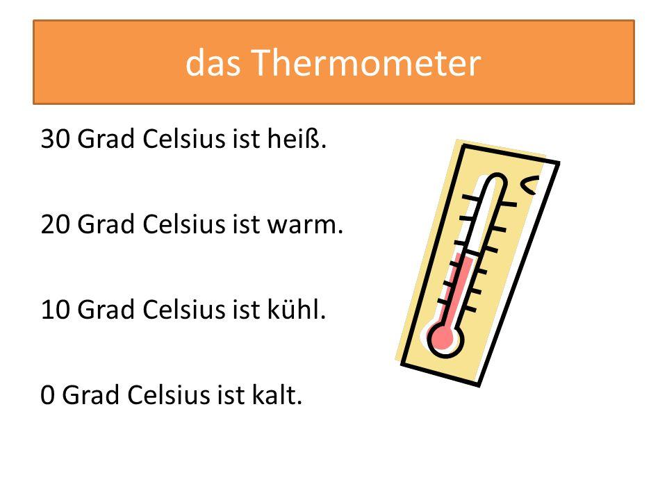 Es ist heiß.(30°)Es ist kalt. (0°) Es ist warm. (20°) Es ist kühl. (10°)