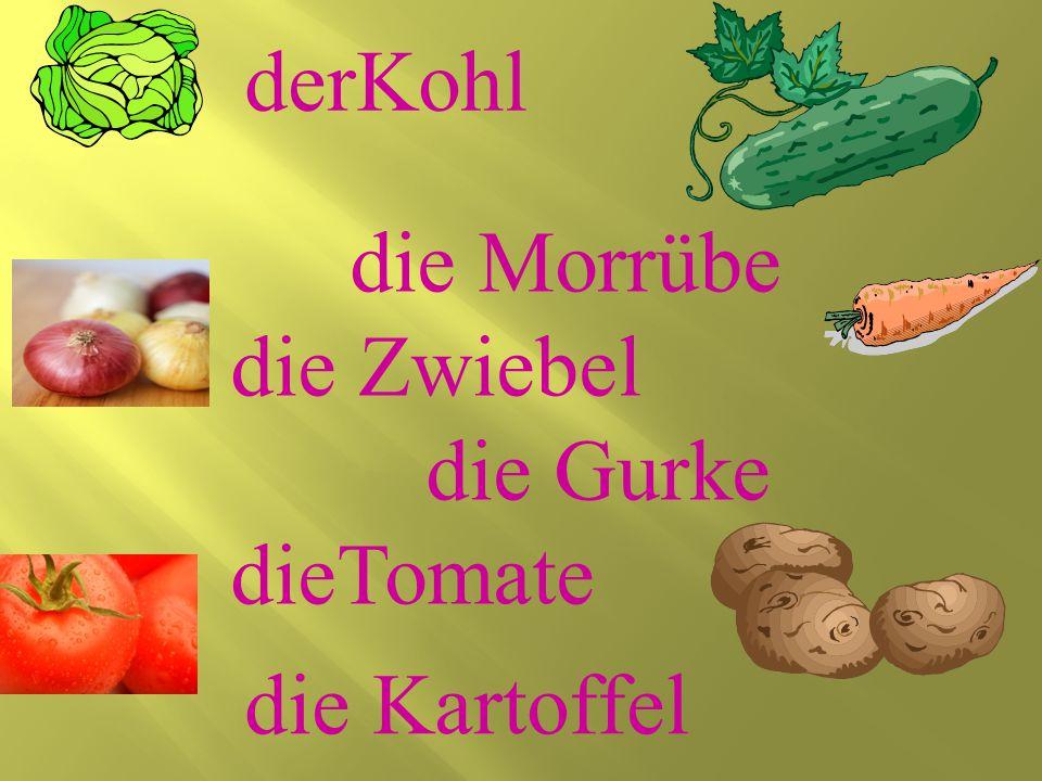 die Morrübe die Zwiebel die Gurke dieTomate die Kartoffel derKohl