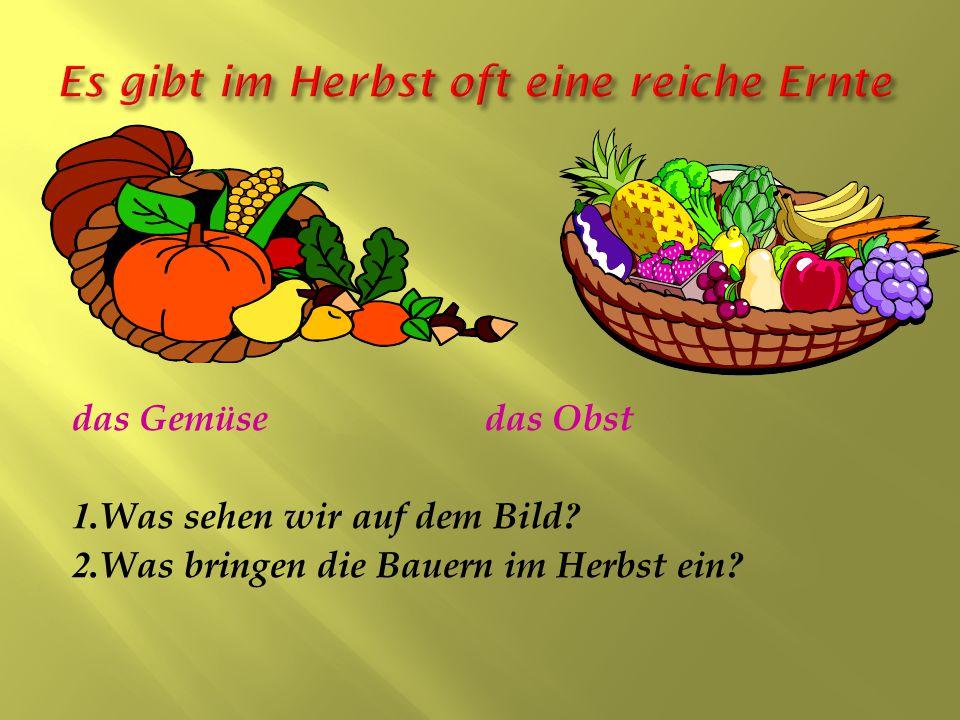 das Gemüse das Obst 1.Was sehen wir auf dem Bild? 2.Was bringen die Bauern im Herbst ein?