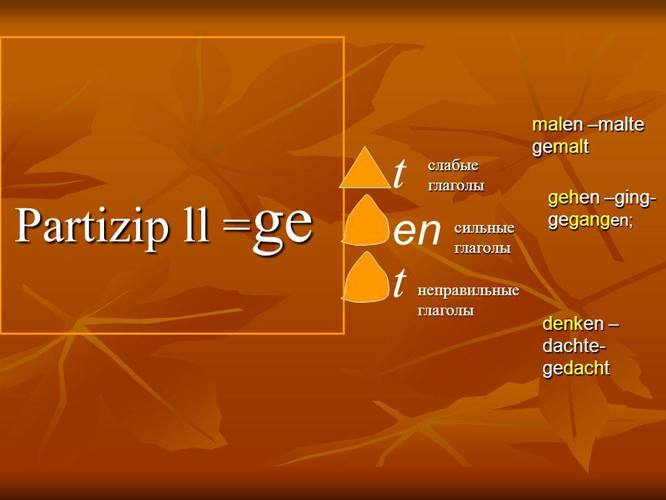 Partizip ll = ge Partizip ll = ge t en слабые глаголы сильные глаголы gehen –ging- gegang en; malen –malte gemalt t неправильные глаголы denken – dach
