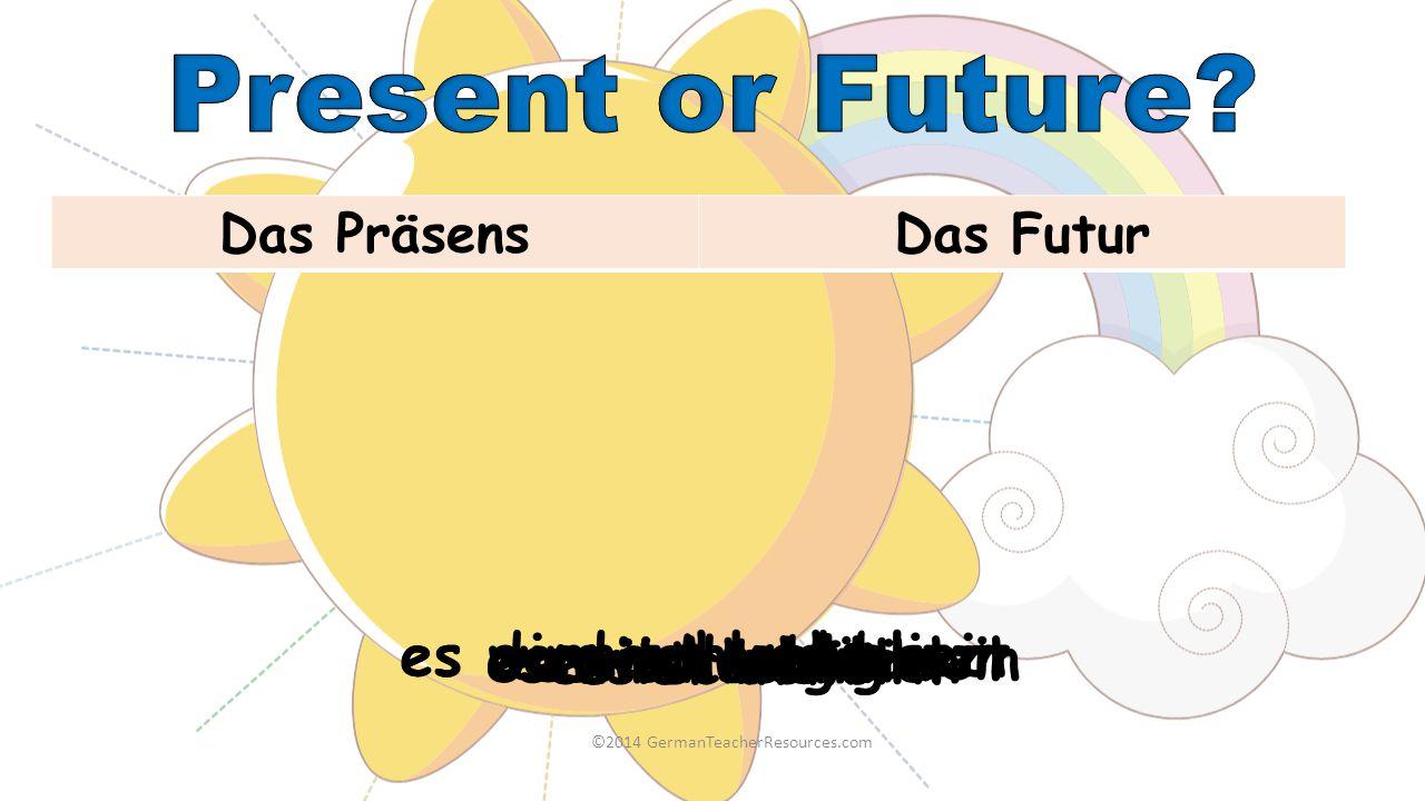 ©2014 GermanTeacherResources.com Das PräsensDas Futur es wird regnen es schneit es wird neblig sein es ist schön es donnert und blitzt es ist bewölkt
