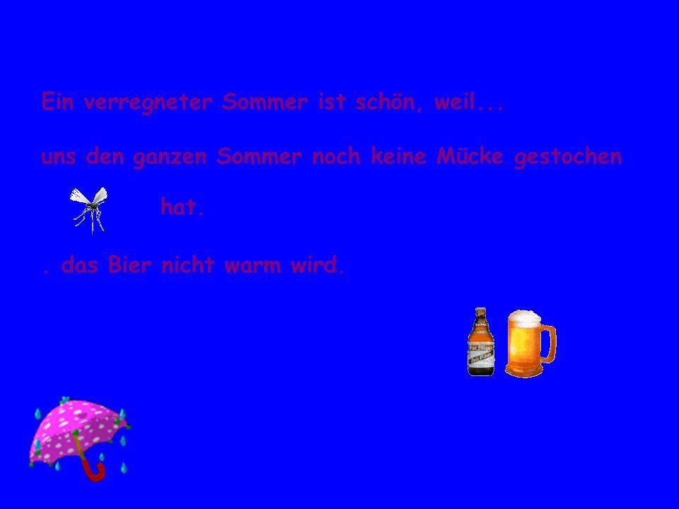Ein verregneter Sommer ist schön, weil... uns den ganzen Sommer noch keine Mücke gestochen hat.. das Bier nicht warm wird.
