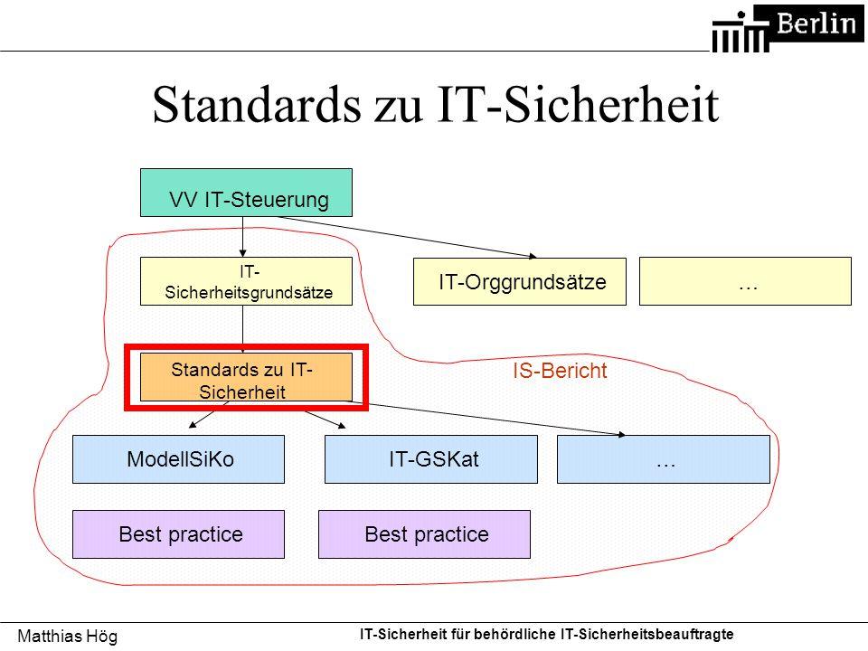 Matthias Hög IT-Sicherheit für behördliche IT-Sicherheitsbeauftragte Standards zu IT-Sicherheit VV IT-Steuerung IT- Sicherheitsgrundsätze Standards zu