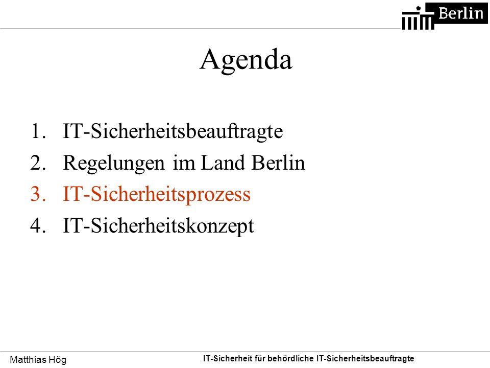 Matthias Hög IT-Sicherheit für behördliche IT-Sicherheitsbeauftragte Agenda 1.IT-Sicherheitsbeauftragte 2.Regelungen im Land Berlin 3.IT-Sicherheitspr