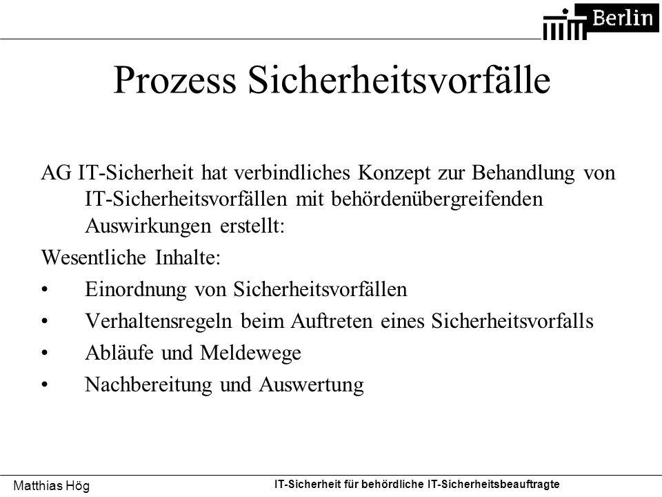 Matthias Hög IT-Sicherheit für behördliche IT-Sicherheitsbeauftragte Prozess Sicherheitsvorfälle AG IT-Sicherheit hat verbindliches Konzept zur Behand