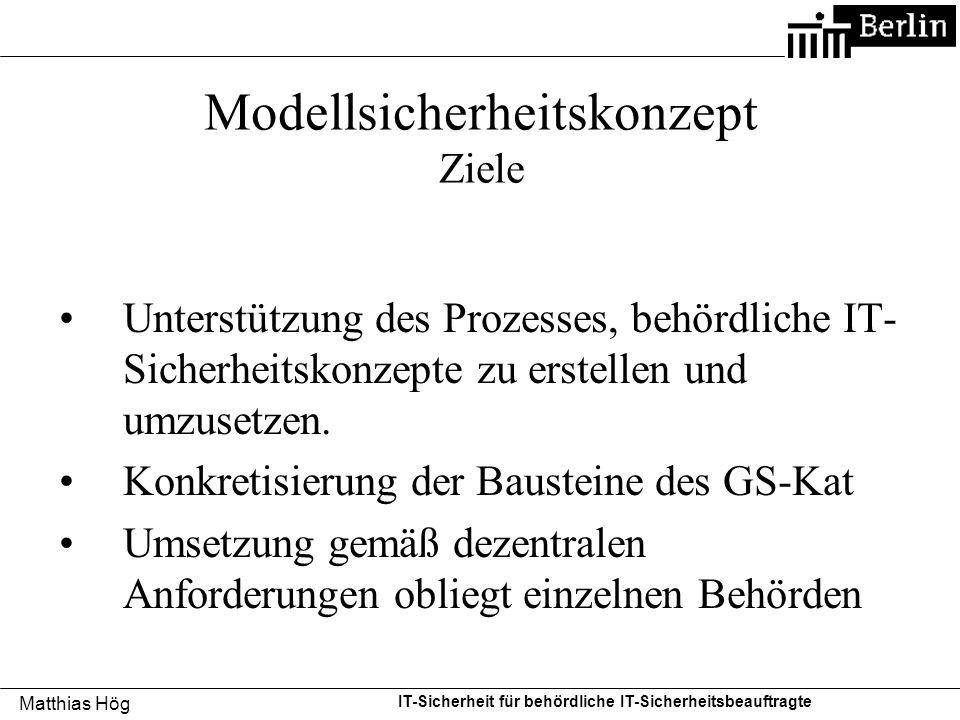 Matthias Hög IT-Sicherheit für behördliche IT-Sicherheitsbeauftragte Modellsicherheitskonzept Ziele Unterstützung des Prozesses, behördliche IT- Siche