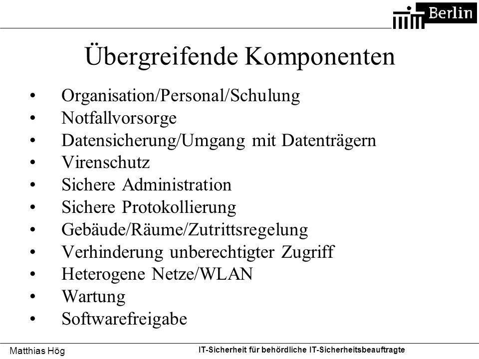 Matthias Hög IT-Sicherheit für behördliche IT-Sicherheitsbeauftragte Übergreifende Komponenten Organisation/Personal/Schulung Notfallvorsorge Datensic