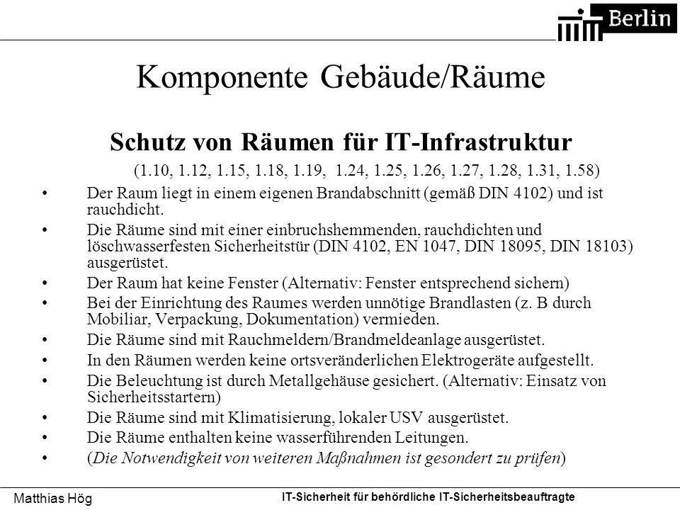 Matthias Hög IT-Sicherheit für behördliche IT-Sicherheitsbeauftragte Komponente Gebäude/Räume Schutz von Räumen für IT-Infrastruktur (1.10, 1.12, 1.15