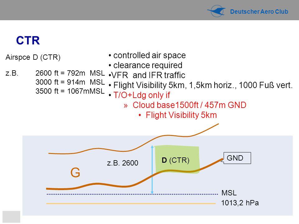 Deutscher Aero Club 1013,2 hPa MSL G z.B. 2600 Airspce D (CTR) z.B. 2600 ft = 792m MSL 3000 ft = 914m MSL 3500 ft = 1067mMSL GND CTR D (CTR) controlle