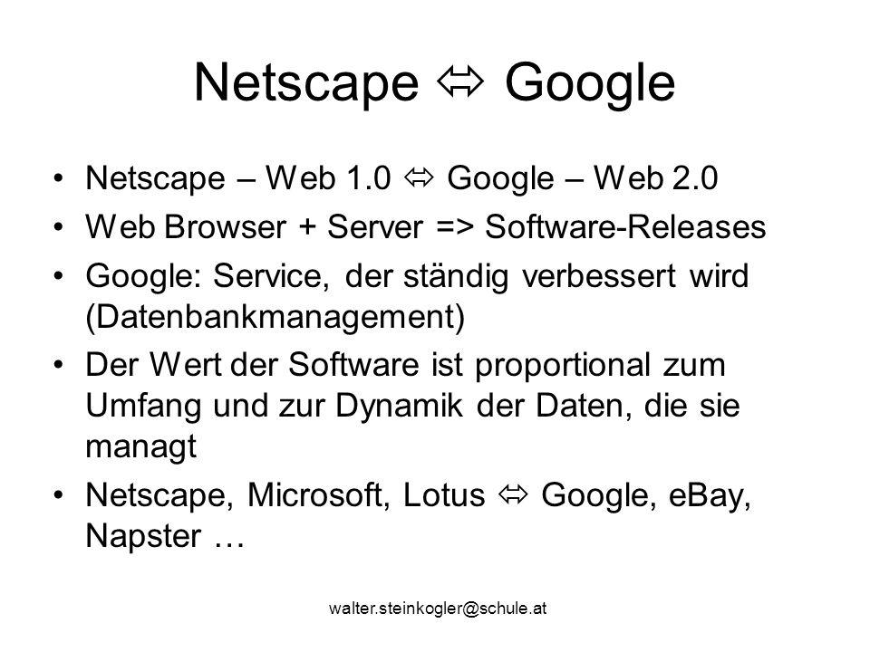 Netscape  Google Netscape – Web 1.0  Google – Web 2.0 Web Browser + Server => Software-Releases Google: Service, der ständig verbessert wird (Datenbankmanagement) Der Wert der Software ist proportional zum Umfang und zur Dynamik der Daten, die sie managt Netscape, Microsoft, Lotus  Google, eBay, Napster …