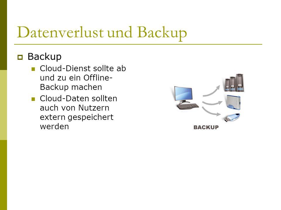 Datenverlust und Backup  Backup Cloud-Dienst sollte ab und zu ein Offline- Backup machen Cloud-Daten sollten auch von Nutzern extern gespeichert werd