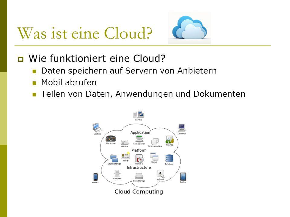 Was ist eine Cloud?  Wie funktioniert eine Cloud? Daten speichern auf Servern von Anbietern Mobil abrufen Teilen von Daten, Anwendungen und Dokumente