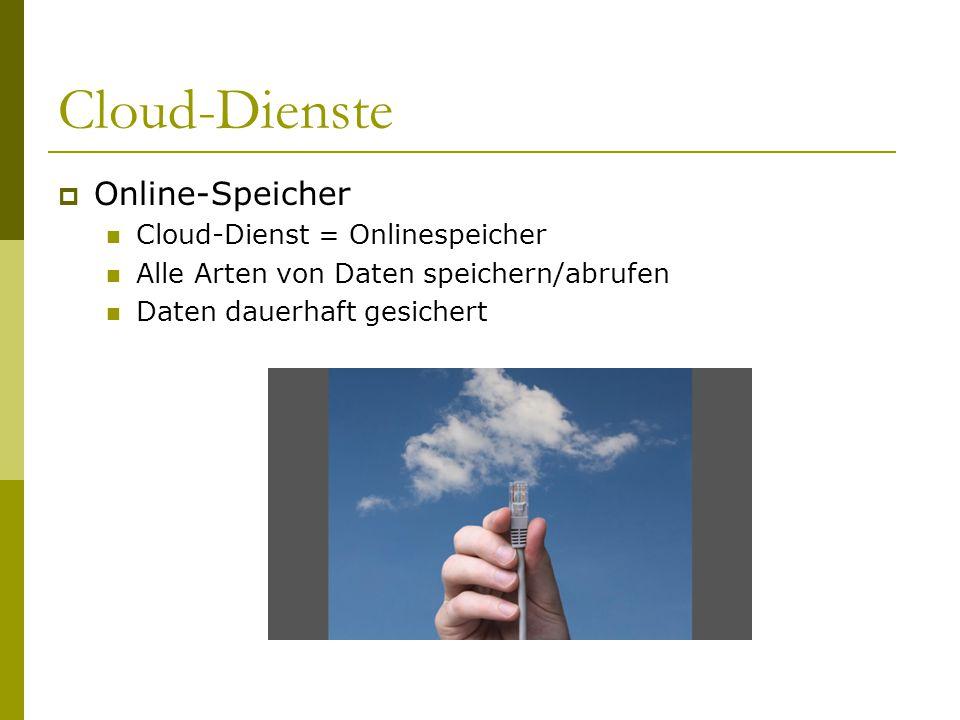 Cloud-Dienste  Online-Speicher Cloud-Dienst = Onlinespeicher Alle Arten von Daten speichern/abrufen Daten dauerhaft gesichert