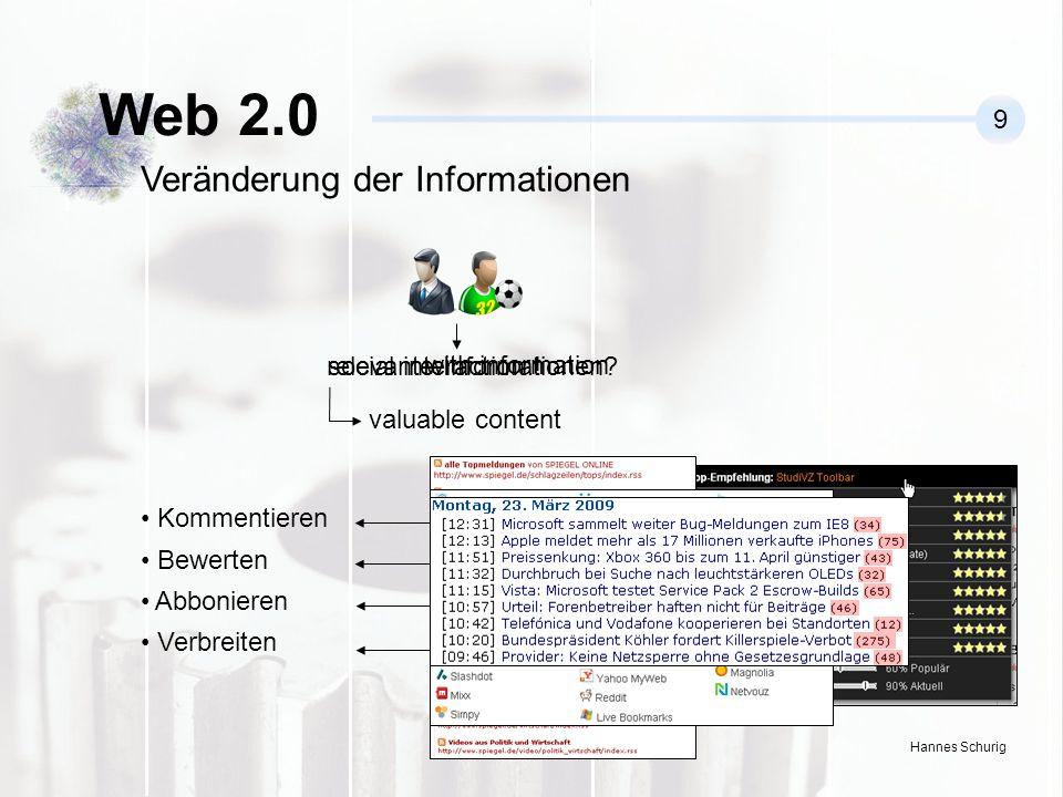 Hannes Schurig Web 2.0 9 Veränderung der Informationen relevante Informationen.