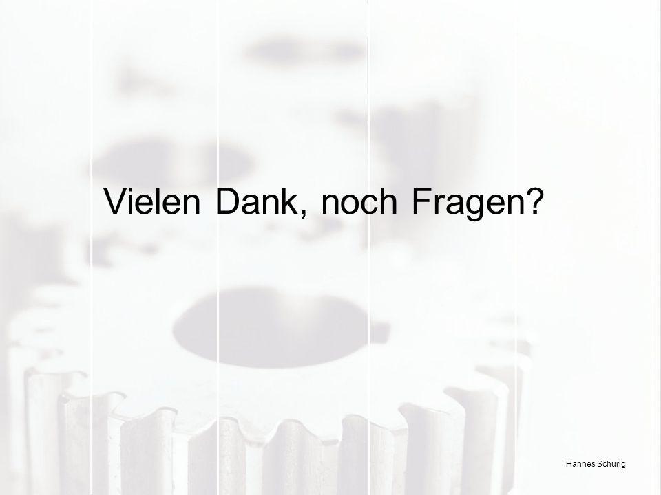 Hannes Schurig Vielen Dank, noch Fragen?