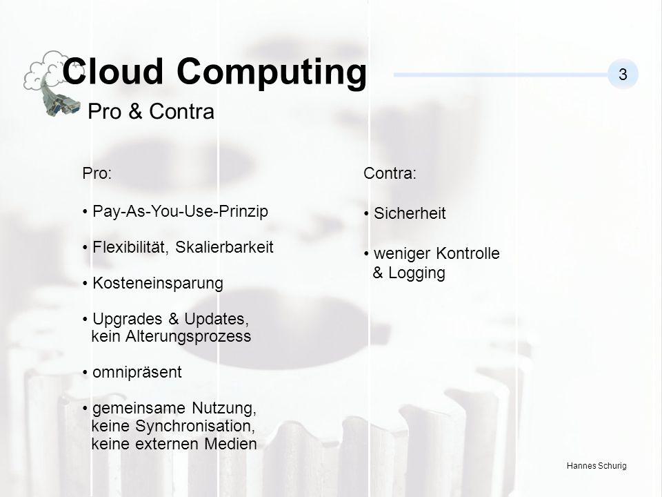 Hannes Schurig Cloud Computing 3 Pro & Contra Pro: Pay-As-You-Use-Prinzip Flexibilität, Skalierbarkeit Kosteneinsparung Upgrades & Updates, kein Alterungsprozess omnipräsent gemeinsame Nutzung, keine Synchronisation, keine externen Medien Contra: Sicherheit weniger Kontrolle & Logging