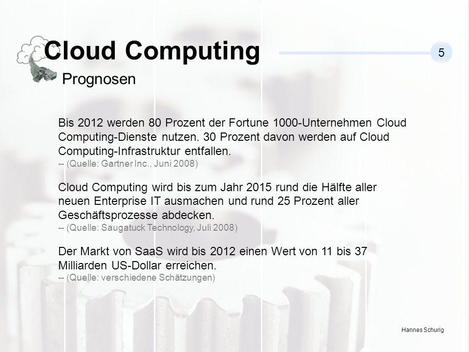 Hannes Schurig Bis 2012 werden 80 Prozent der Fortune 1000-Unternehmen Cloud Computing-Dienste nutzen.