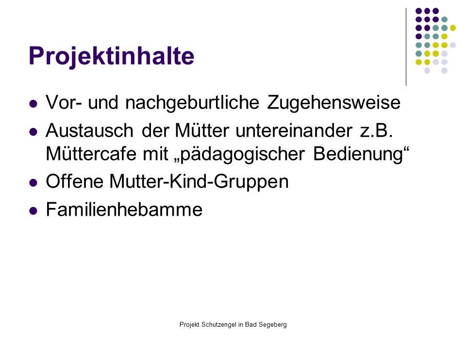 Projekt Schutzengel in Bad Segeberg Projektinhalte Vor- und nachgeburtliche Zugehensweise Austausch der Mütter untereinander z.B.