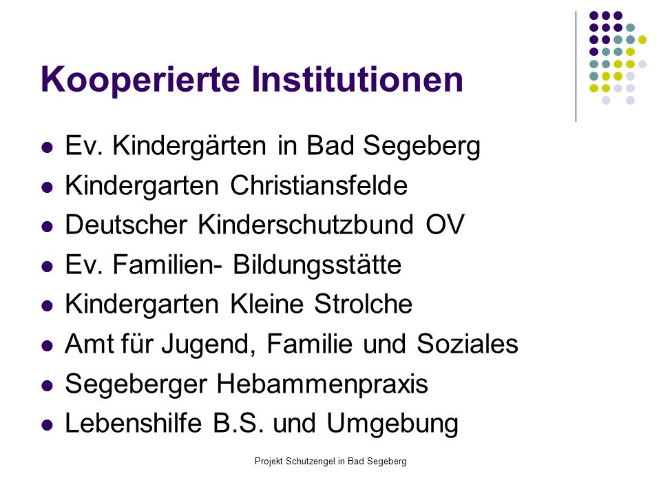 Projekt Schutzengel in Bad Segeberg Kooperierte Institutionen Ev. Kindergärten in Bad Segeberg Kindergarten Christiansfelde Deutscher Kinderschutzbund