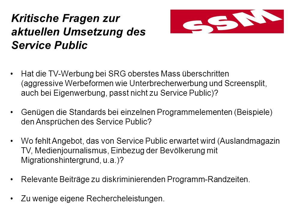 Hat die TV-Werbung bei SRG oberstes Mass überschritten (aggressive Werbeformen wie Unterbrecherwerbung und Screensplit, auch bei Eigenwerbung, passt nicht zu Service Public).