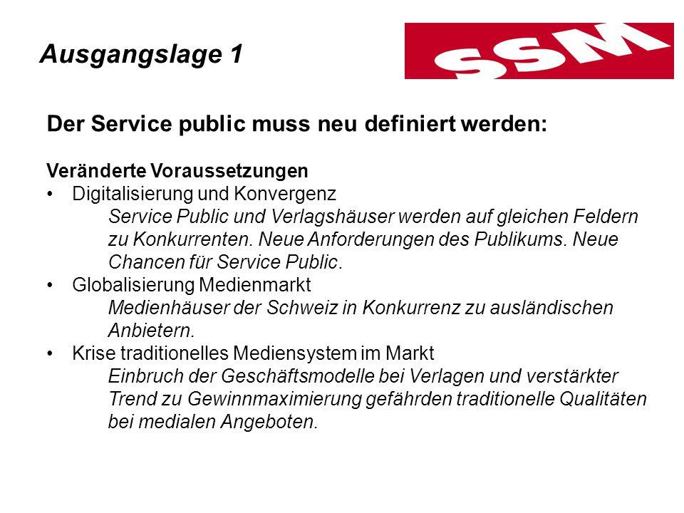 Der Service public muss neu definiert werden: Veränderte Voraussetzungen Digitalisierung und Konvergenz Service Public und Verlagshäuser werden auf gl