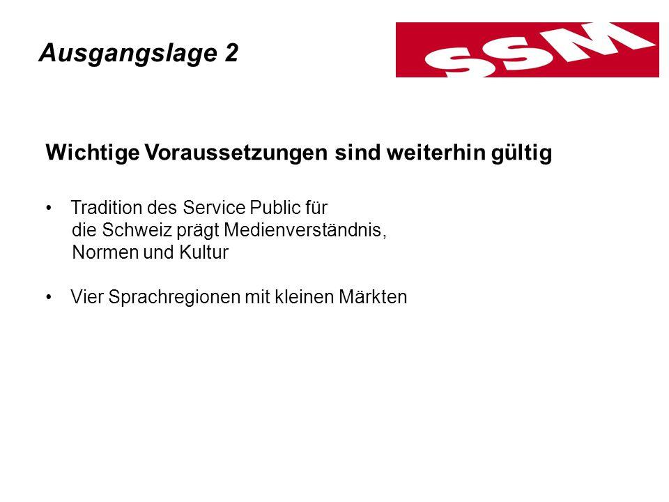 Wichtige Voraussetzungen sind weiterhin gültig Tradition des Service Public für die Schweiz prägt Medienverständnis, Normen und Kultur Vier Sprachregionen mit kleinen Märkten Ausgangslage 2