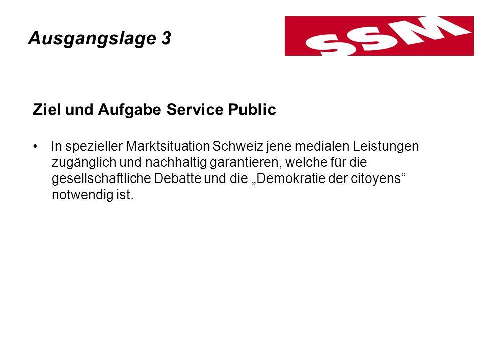 Ziel und Aufgabe Service Public In spezieller Marktsituation Schweiz jene medialen Leistungen zugänglich und nachhaltig garantieren, welche für die ge
