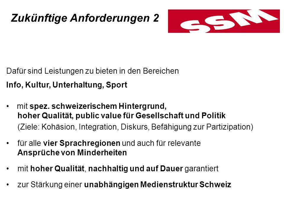 Dafür sind Leistungen zu bieten in den Bereichen Info, Kultur, Unterhaltung, Sport mit spez. schweizerischem Hintergrund, hoher Qualität, public value