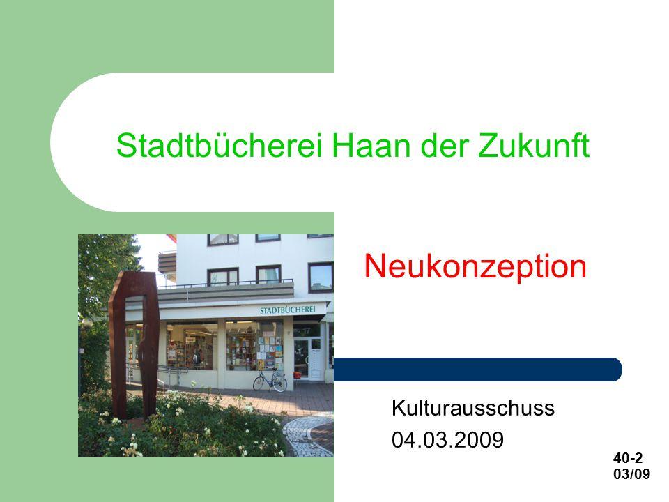 Stadtbücherei Haan der Zukunft Kulturausschuss 04.03.2009 40-2 03/09 Neukonzeption