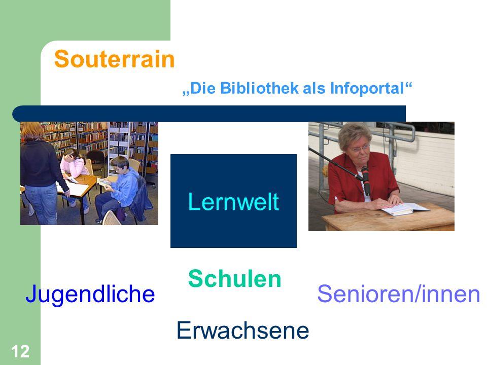 """12 Souterrain """"Die Bibliothek als Infoportal Jugendliche Erwachsene Senioren/innen Lernwelt Schulen"""