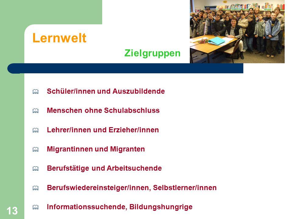 13 Lernwelt Zielgruppen  Schüler/innen und Auszubildende  Menschen ohne Schulabschluss  Lehrer/innen und Erzieher/innen  Migrantinnen und Migrante