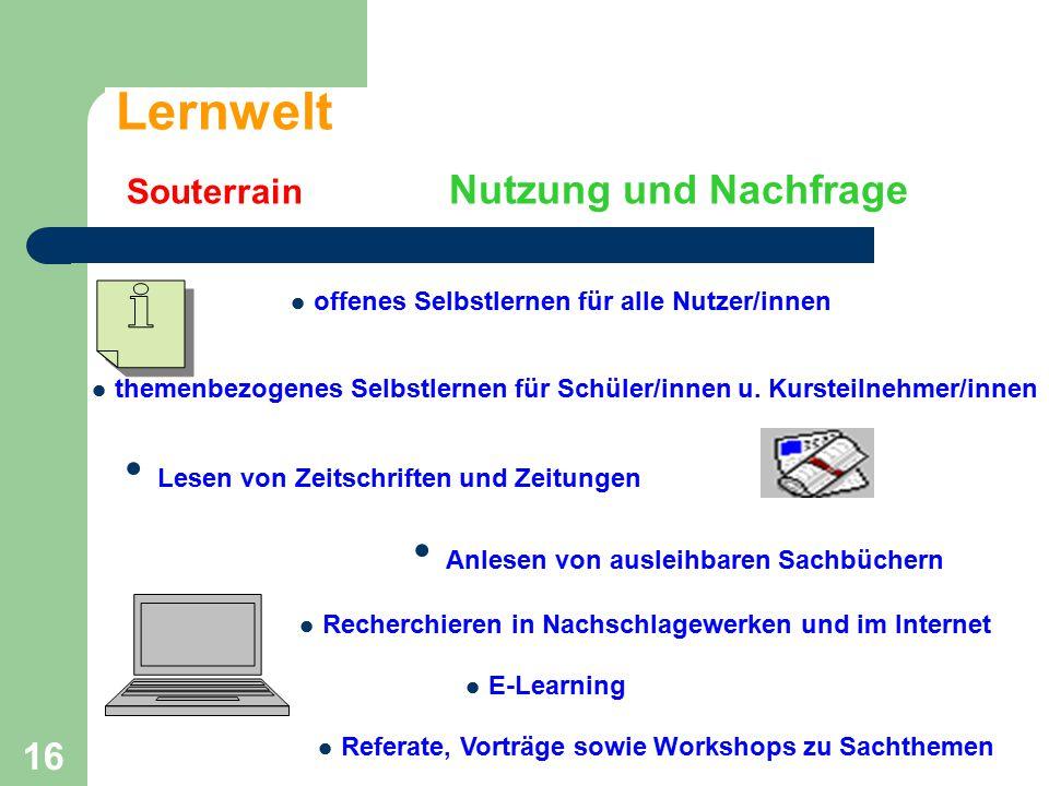 16 Lernwelt Souterrain Nutzung und Nachfrage offenes Selbstlernen für alle Nutzer/innen themenbezogenes Selbstlernen für Schüler/innen u. Kursteilnehm