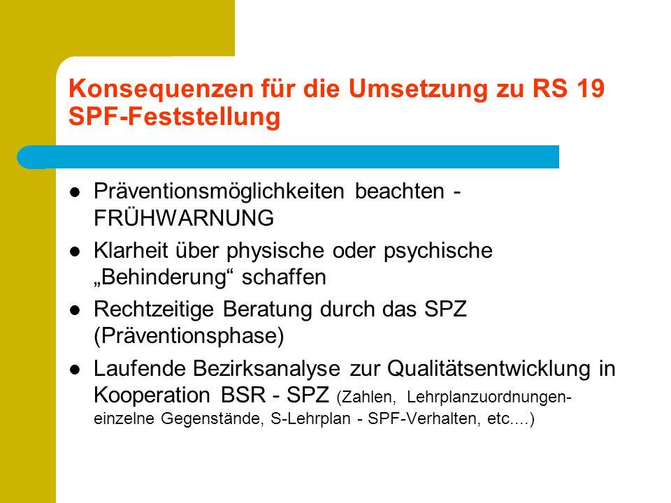 """Konsequenzen für die Umsetzung zu RS 19 SPF-Feststellung Präventionsmöglichkeiten beachten - FRÜHWARNUNG Klarheit über physische oder psychische """"Behi"""