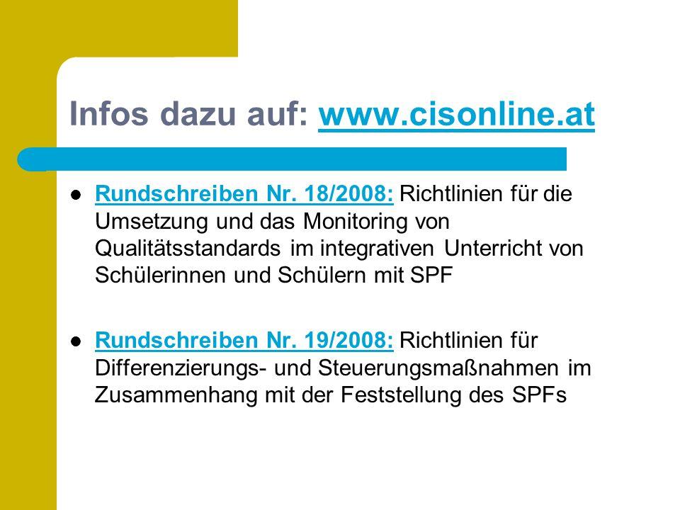 Infos dazu auf: www.cisonline.atwww.cisonline.at Rundschreiben Nr. 18/2008: Richtlinien für die Umsetzung und das Monitoring von Qualitätsstandards im