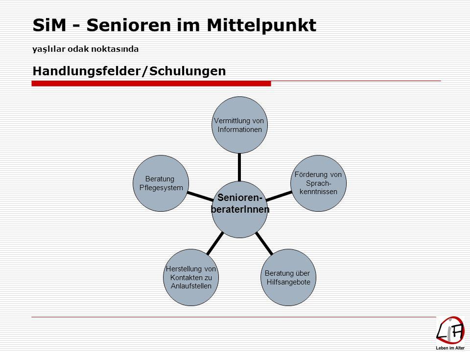 SiM - Senioren im Mittelpunkt yaşlılar odak noktas ı nda Senioren- beraterInnen Vermittlung von Informationen Förderung von Sprach- kenntnissen Beratu